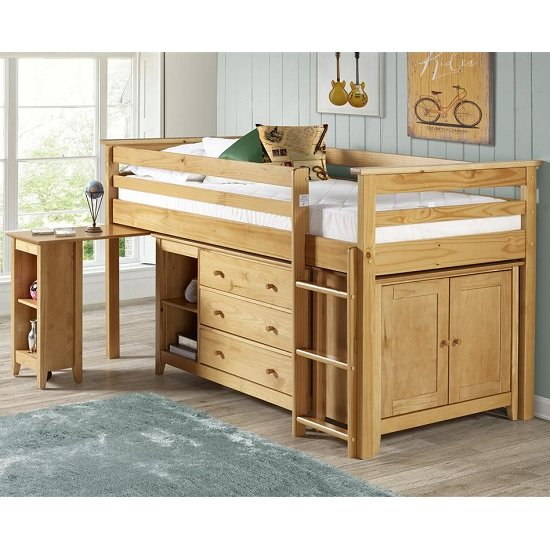 Pegasus Midi Sleeper Bed In Antique Pine With Storage And Desk