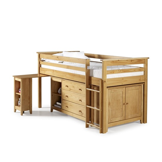 Pegasus Midi Sleeper Bed In Antique Pine With Storage And Desk_3