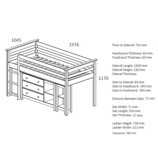Pegasus Midi Sleeper Bed In Antique Pine With Storage And Desk_4