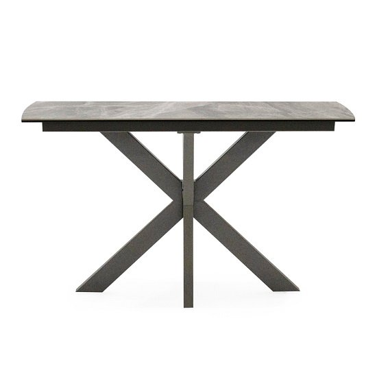 Pelagius Ceramic Glass Console Table In Grey With Metal Legs