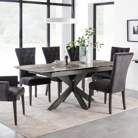 Pelagius Extending Glass Dining Table In Grey With Metal Legs_2