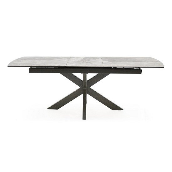 Pelagius Extending Glass Dining Table In Grey With Metal Legs_1