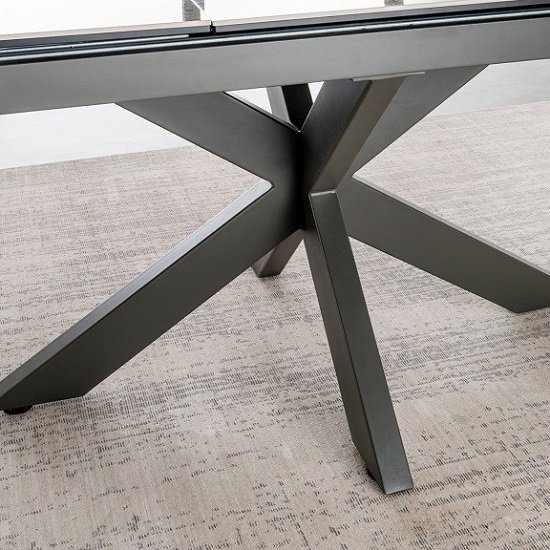 Pelagius Extending Glass Dining Table In Grey With Metal Legs_3