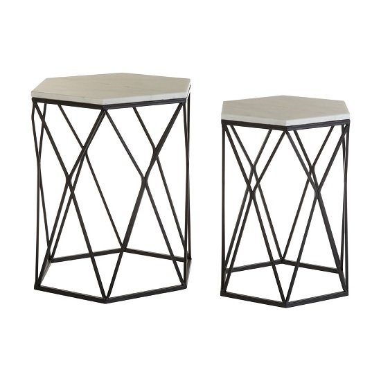Pelham Marble Side Tables In White With Black Steel Frame