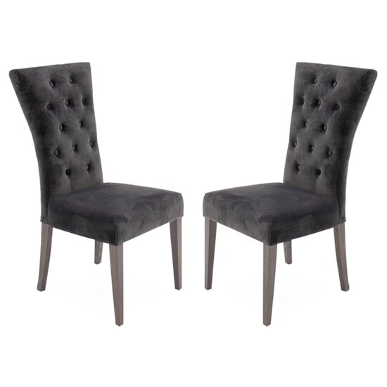 Pembroke Charcoal Velvet Upholstered Dining Chairs In Pair