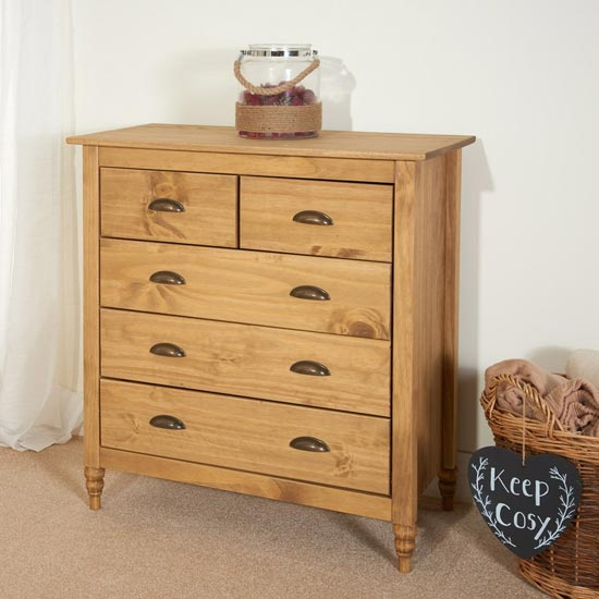 Pembroke Wooden Chest Of Drawers In Waxed Pine With 5 Drawers_2
