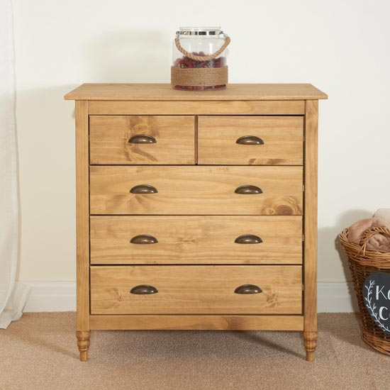 Pembroke Wooden Chest Of Drawers In Waxed Pine With 5 Drawers