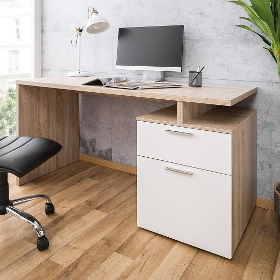 Pembroke Wooden Computer Desk In Sonoma Oak And White_1