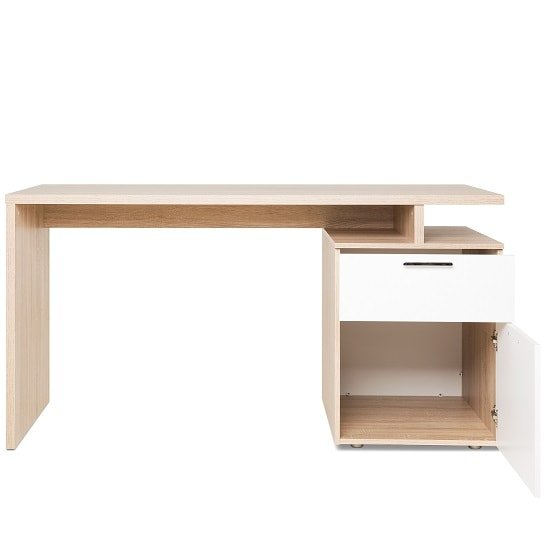 Pembroke Wooden Computer Desk In Sonoma Oak And White_3