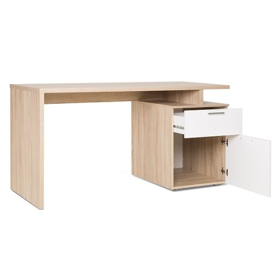 Pembroke Wooden Computer Desk In Sonoma Oak And White_4