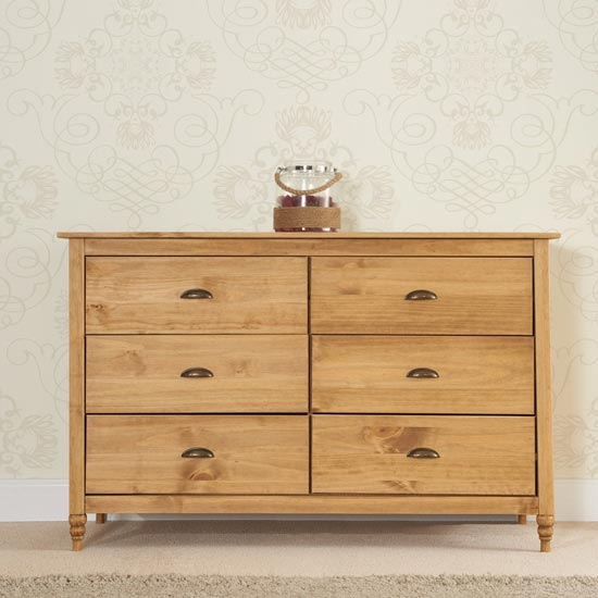 Pembroke Wide Chest Of Drawers In Waxed Pine With 6 Drawers