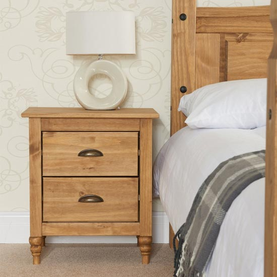 Pembroke Wooden Bedside Cabinet In Waxed Pine With 2 Drawers