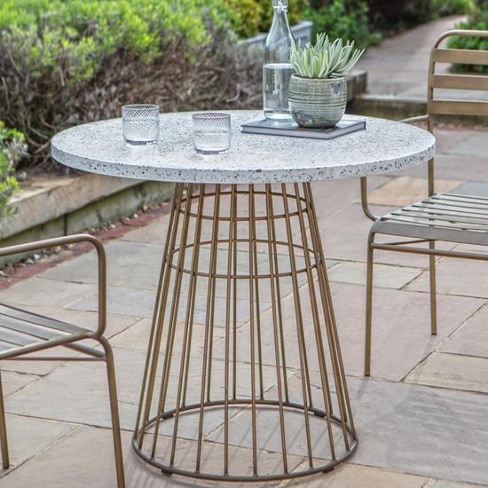 View Pembury white marble bistro table in bronze metal base