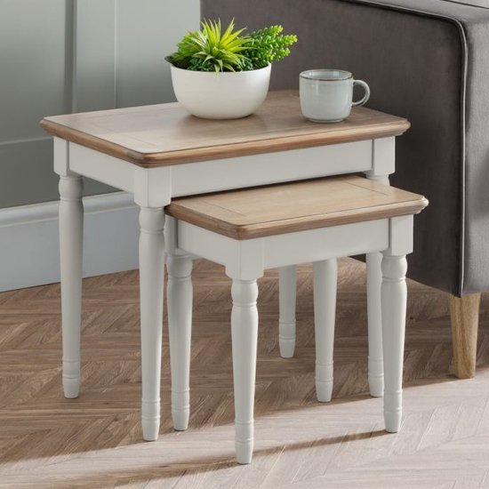 Pendleton Wooden Nest Of 2 Tables In Limed Oak And Grey