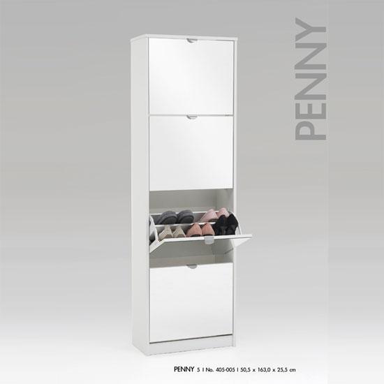 White Mirrored Shoe Cabinet
