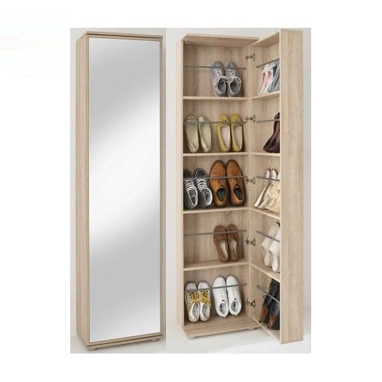 Wooden Shoe Cabinet With Full Mirror In Canadian Oak