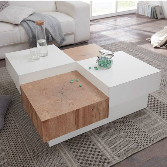Pensa Wooden Coffee Table In Oak And White With 2 Drawers