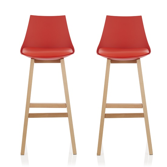 Penton Bar Stools In Red Faux Leather Seat Pad In A Pair