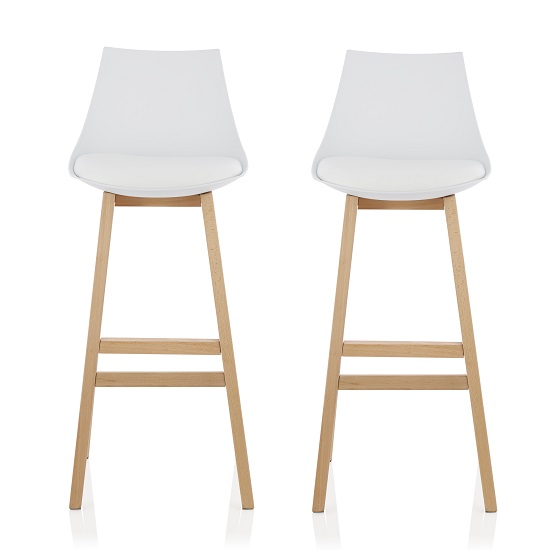 Penton Bar Stools In White Faux Leather Seat Pad In A Pair