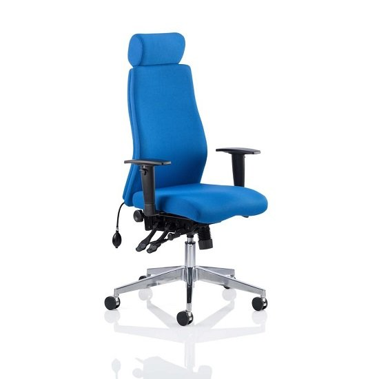 Penza Office Chair In Blue With Headrest And Arms