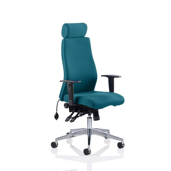 Penza Office Chair In Maringa Teal With Adjustable Arms