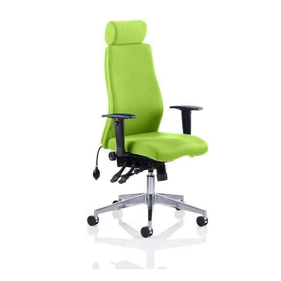Penza Office Chair In Myrrh Green With Adjustable Arms