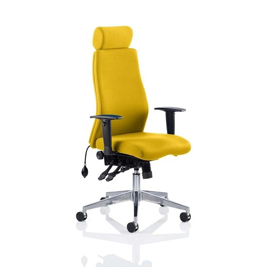 Penza Office Chair In Senna Yellow With Adjustable Arms