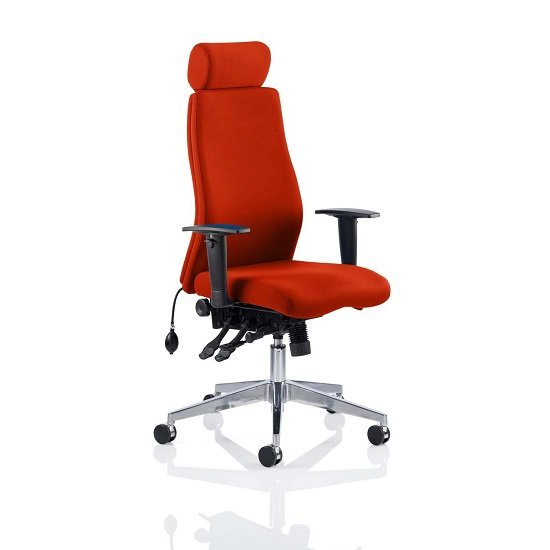 Penza Office Chair In Tobasco Red With Adjustable Arms