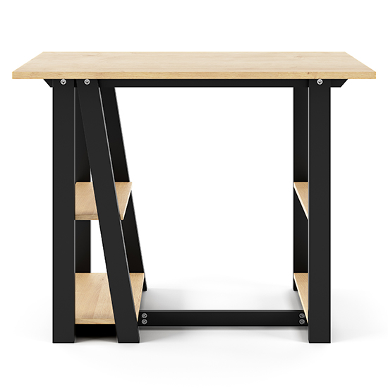 Penzance Wooden Computer Desk In Oak And Black_2
