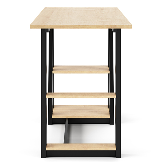 Penzance Wooden Computer Desk In Oak And Black_3