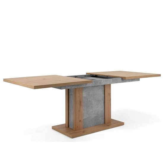 Peora Extendable Dining Table In Artisan Oak Structured Concrete