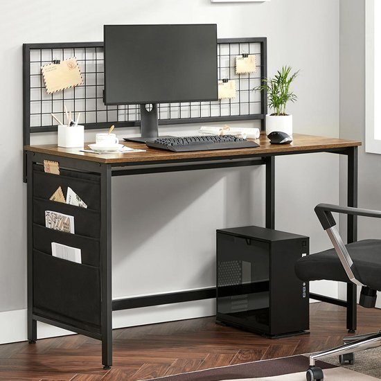 View Peoria computer desk with fabric storage bags in rustic brown