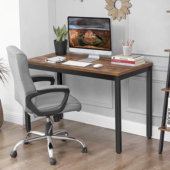 View Peoria wooden industrial computer desk in rustic brown