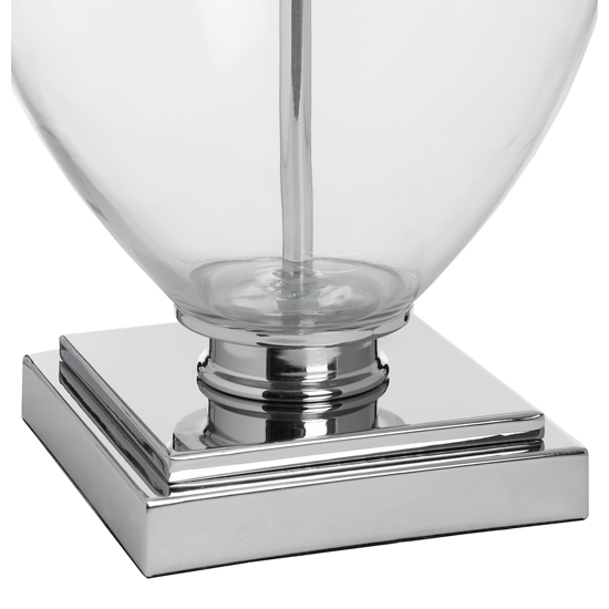Peoria Mirrored Table Lamp In Silver With Grey Shade_2