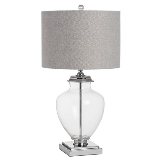 Peoria Mirrored Table Lamp In Silver With Grey Shade_1