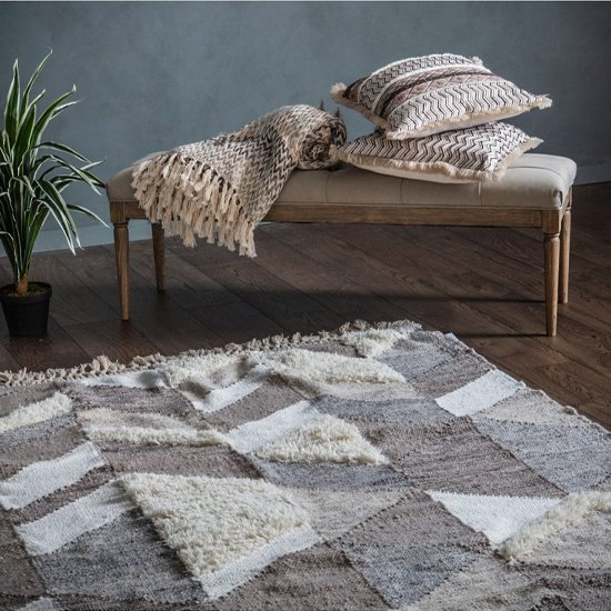 Peraco Polyster And Wool Fabric Rug In Grey And White