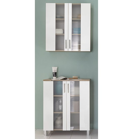 Perco Bathroom Furniture Set 7 In White And Sagerau Oak