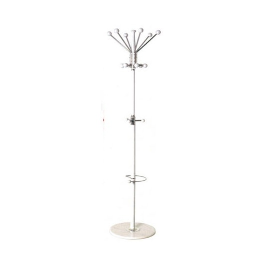 Percy Coat And Hat Stand In White And Chrome Finish