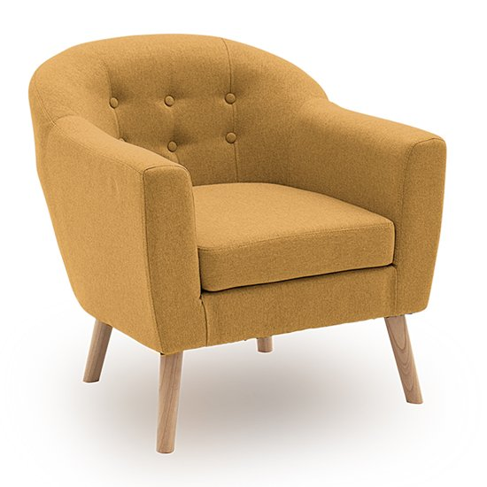 Perig Fabric Upholstered Accent Chair In Mustard