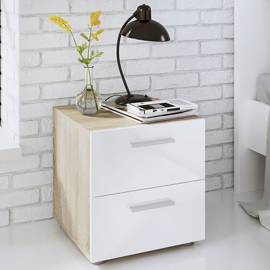 Perkin Wooden Bedside Cabinet In Oak And White Gloss 2 Drawers