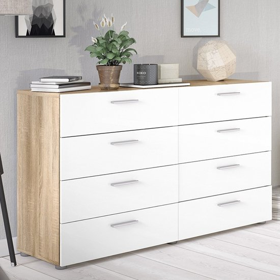 Perkin Wooden Chest Of Drawers In Oak And White Gloss 8 Drawers