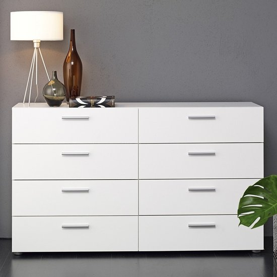 Perkin Wooden Chest Of Drawers In White With 8 Drawers
