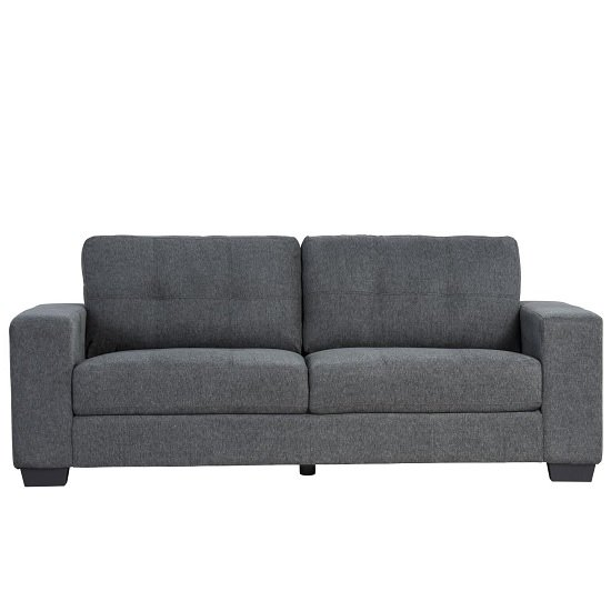 Perkins 3 Seater Sofa In Grey Fabric With Wooden Feet_2