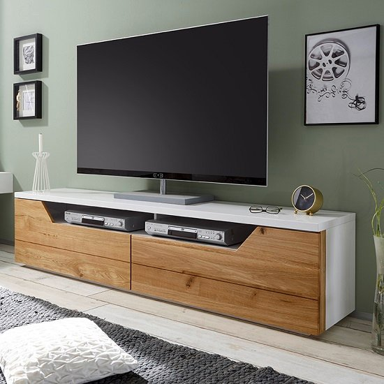 Perkins TV Stand In Matt White And Knotty Oak With 2 Drawers