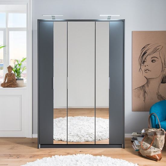 Perla Mirrored Wardrobe In Aluminium Effect And Graphite