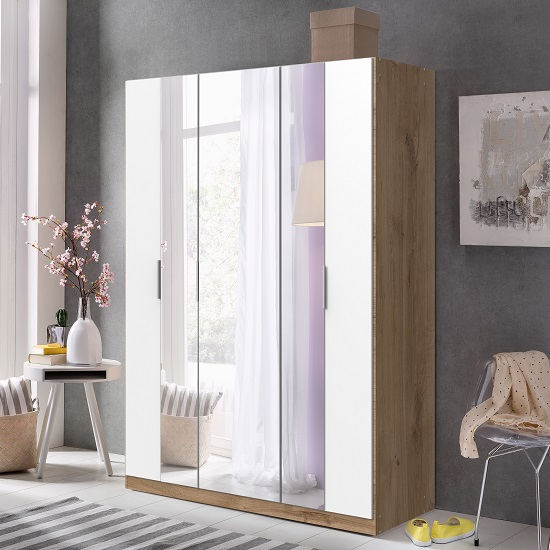 Perla Mirrored Wardrobe In Planked Oak Effect And White