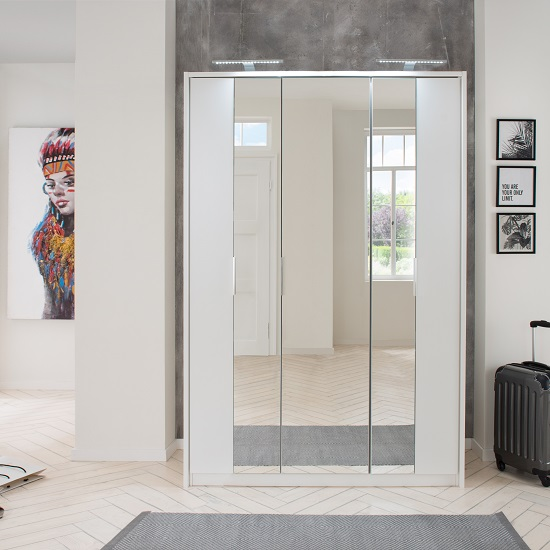 Perla Mirrored Wardrobe In White With Revolving Doors
