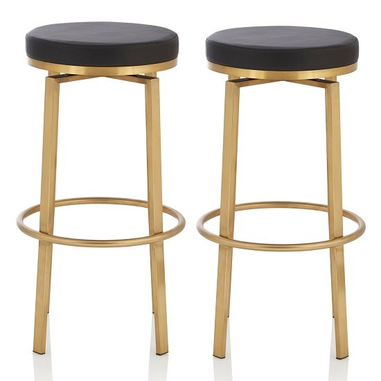 Perona Bar Stool In Black Faux Leather And Gold Legs In A Pair