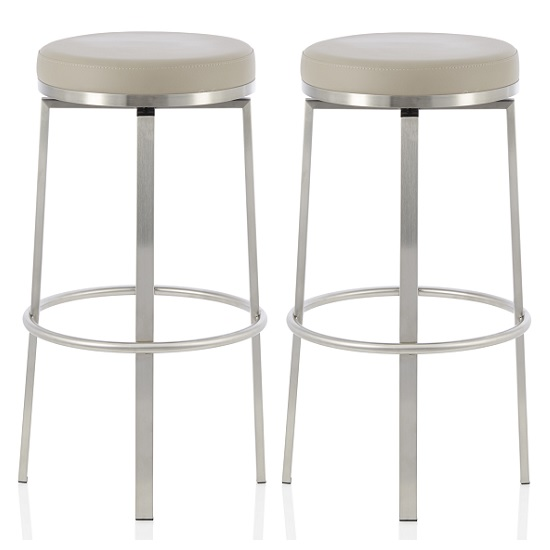 Perona Bar Stool In Taupe Faux Leather And Steel Legs In A Pair