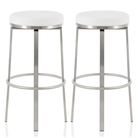 Perona Bar Stool In White Faux Leather And Steel Legs In A Pair